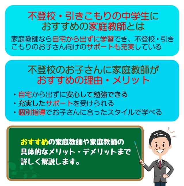 【中学生の不登校・引きこもりに】家庭教師のメリットとおすすめ3選